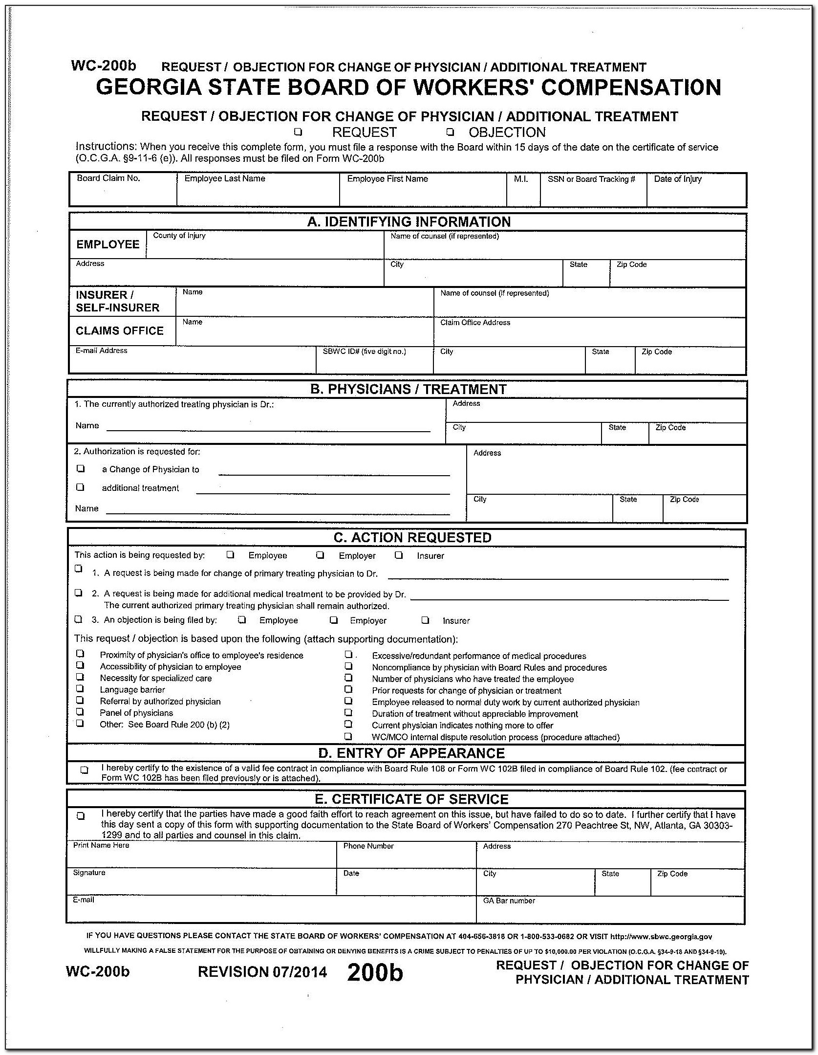 Georgia Workers Compensation Exemption Form