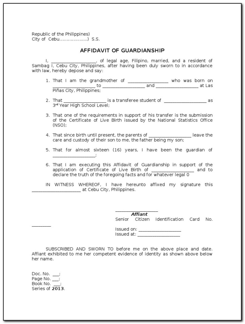 Gsis Affidavit Of Guardianship Form