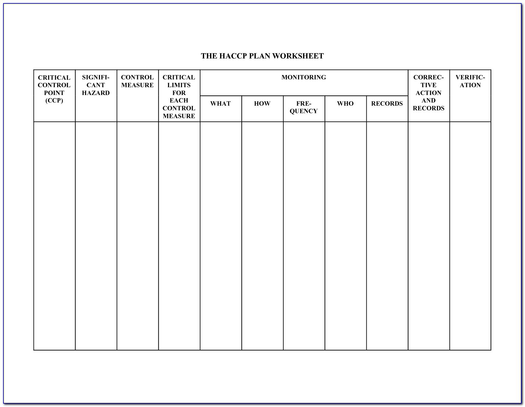 Haccp Plan Form 1