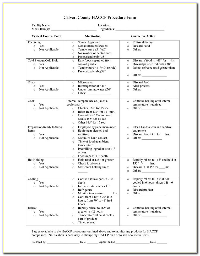 Haccp Plan Template For Catering
