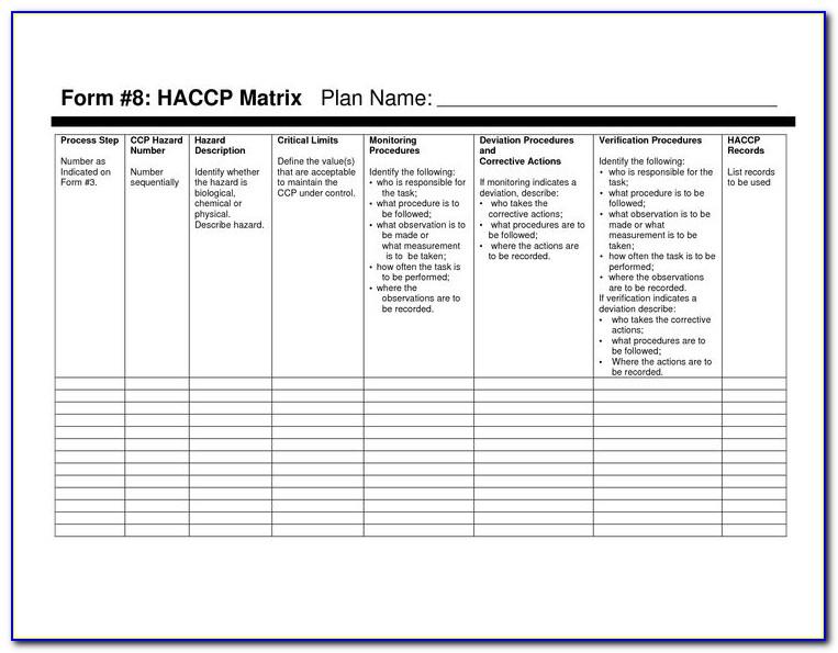 Haccp Plan Template Pdf