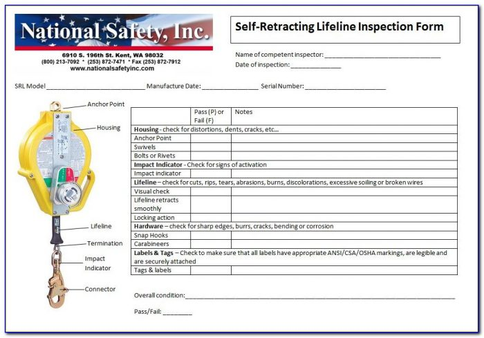 Harness And Lanyard Inspection Template