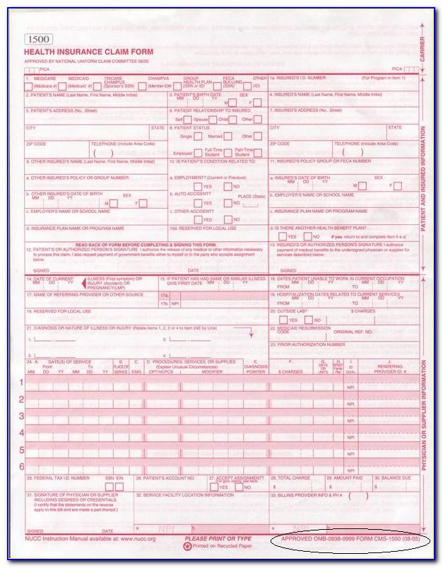 Hcfa Claim Form 1500