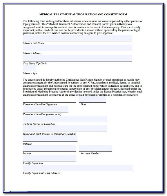 Health Care Consent Form