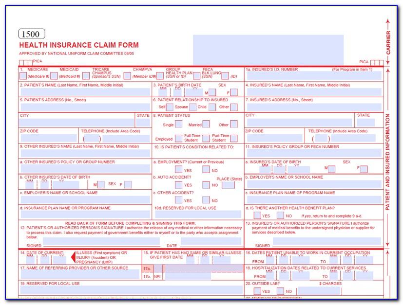 Health Insurance Claim Form Cms 1500 Pdf