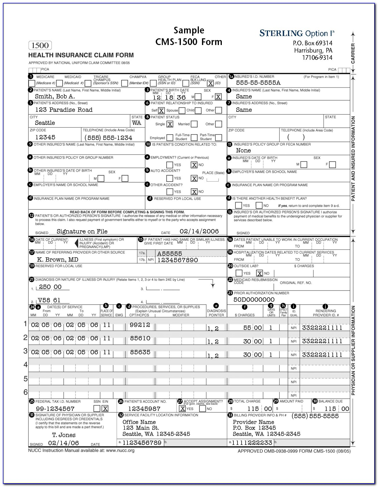 Health Insurance Claim Form Cms 1500