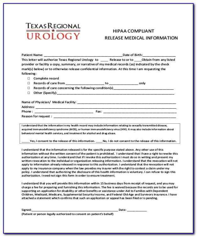 Hipaa Compliant Medical Release Form Florida