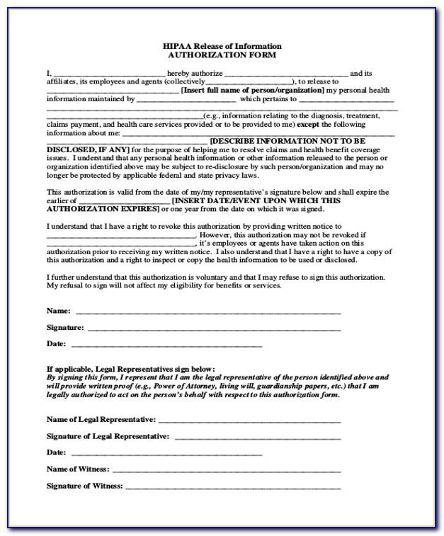 Hipaa Compliant Medical Release Form Texas
