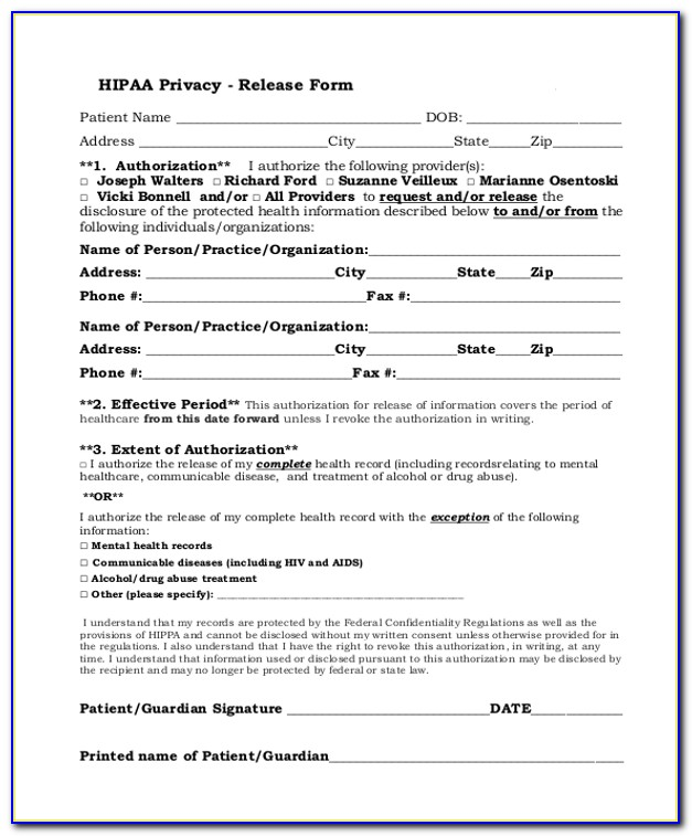 Hipaa Compliant Release Information Form Mental Health