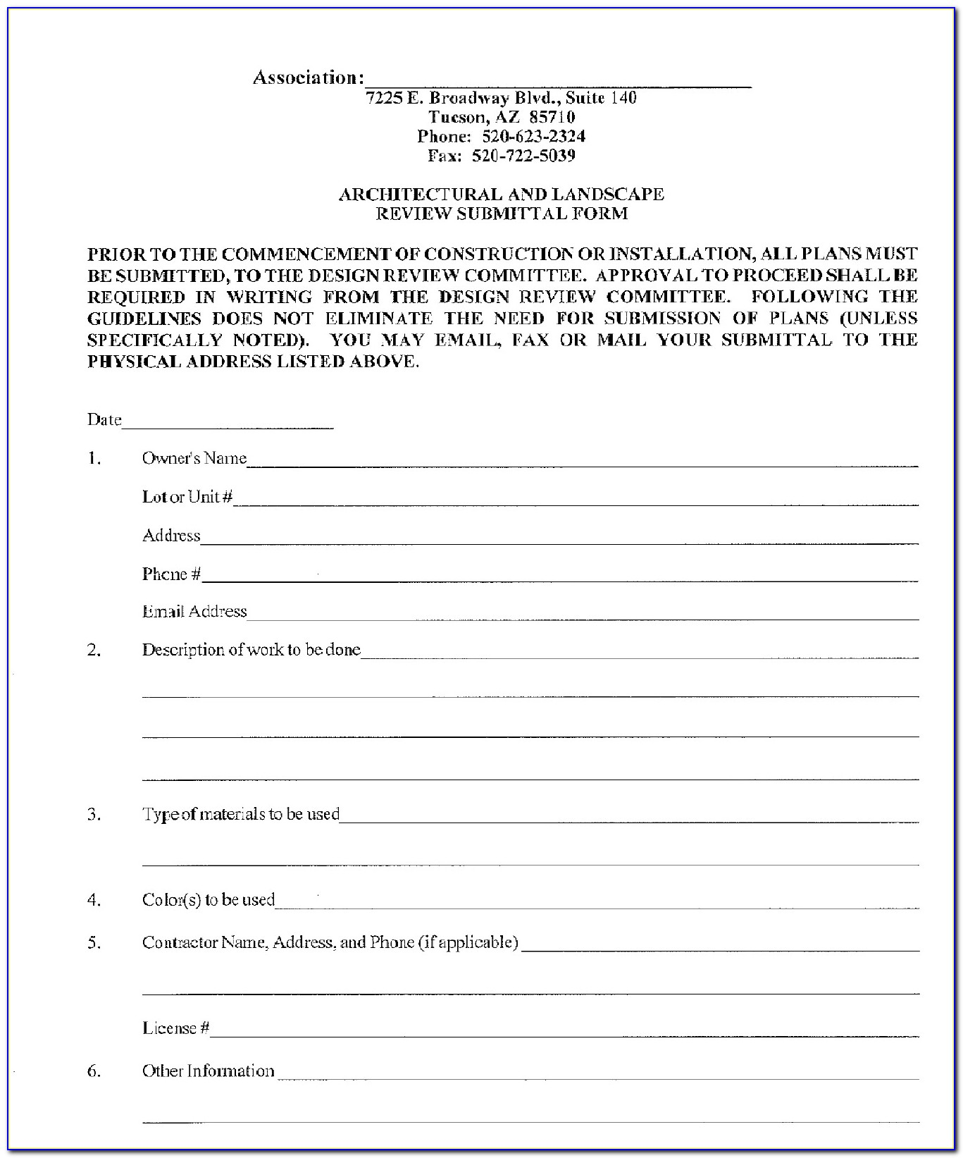 Hoa Architectural Review Form