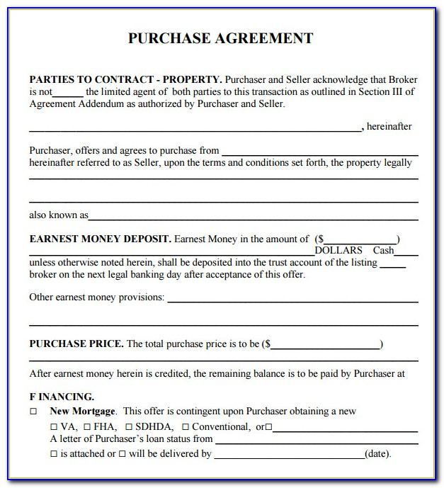 Home Purchase Agreement Form Indiana