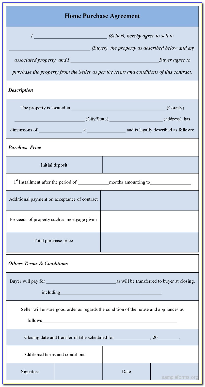 Home Purchase Agreement Form