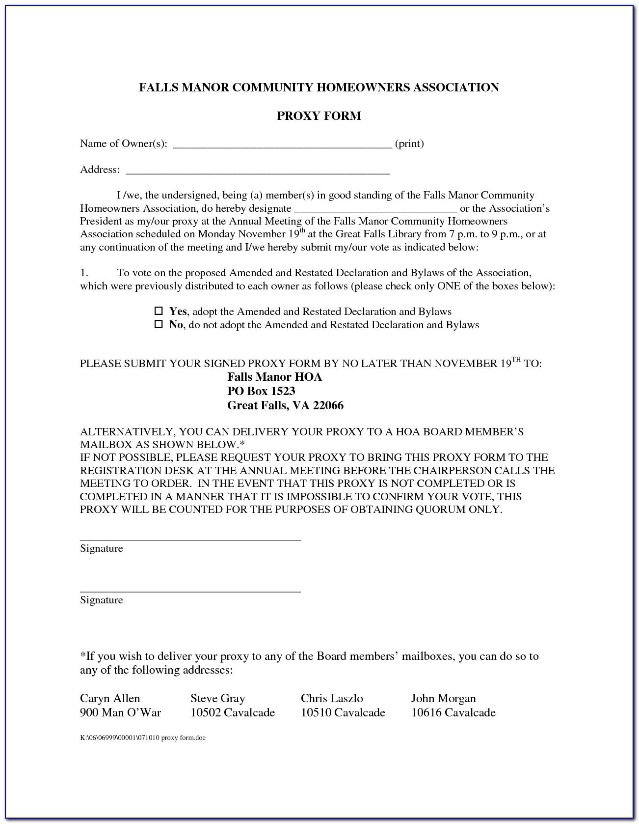 Homeowners Association Voting Proxy Form
