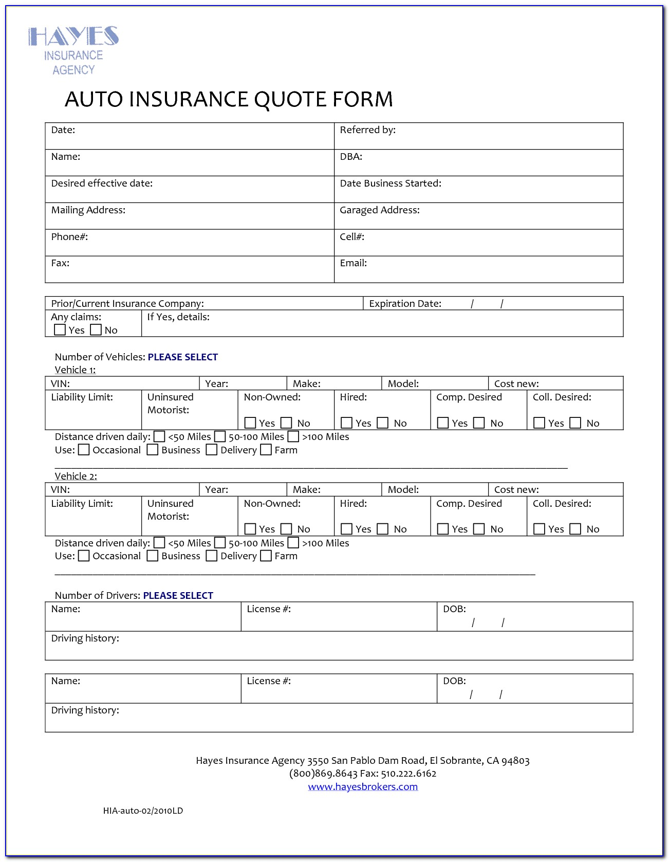 Homeowners Insurance Quote Form Template