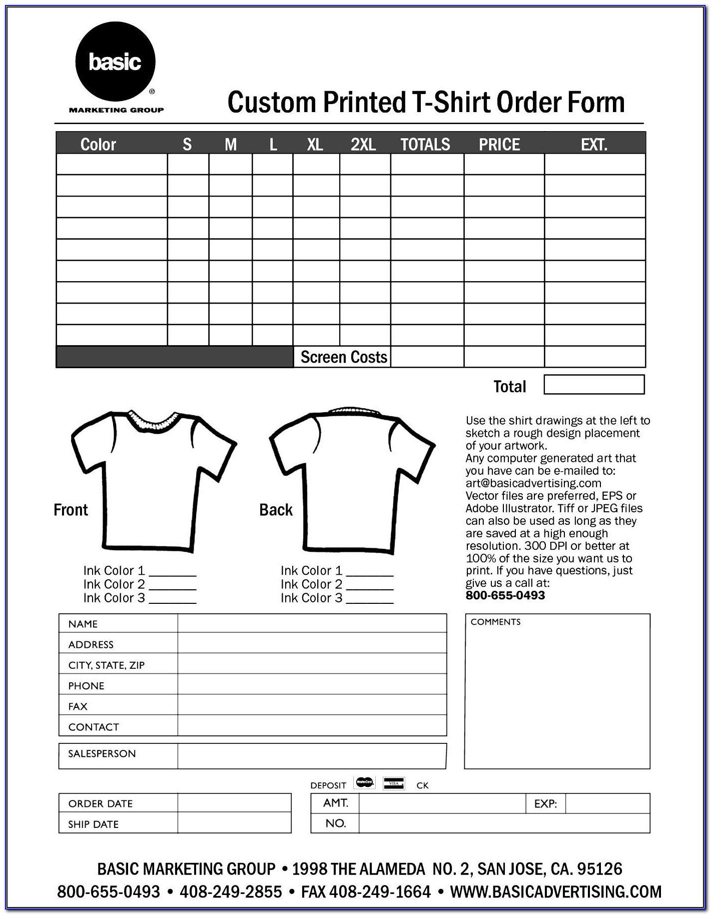 Hoodie Order Form Template