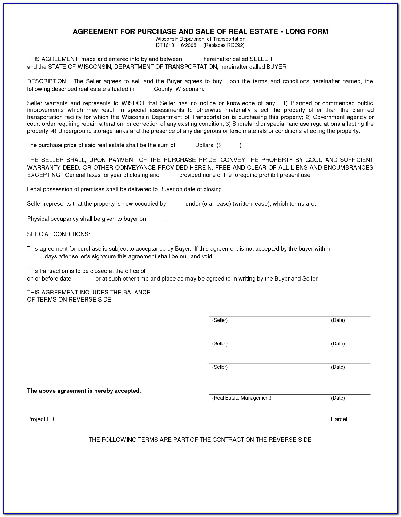 House Purchase Agreement Form Free
