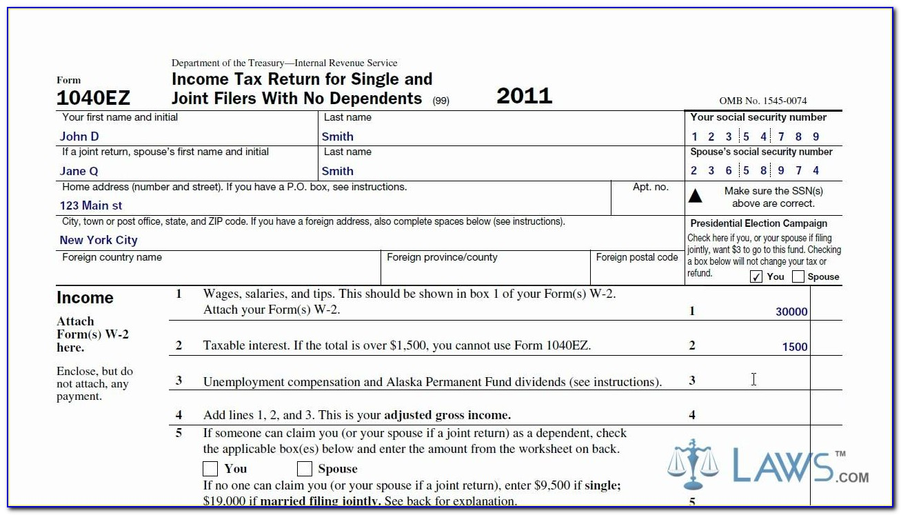 How To Complete 1040ez Income Tax Form