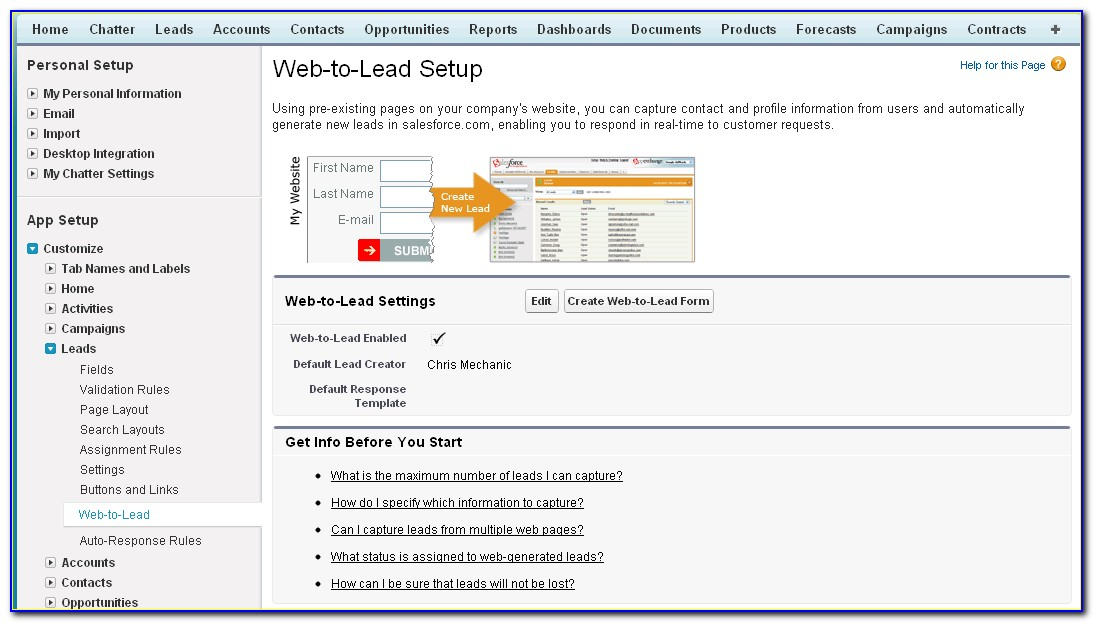 How To Create Web To Lead Form In Salesforce