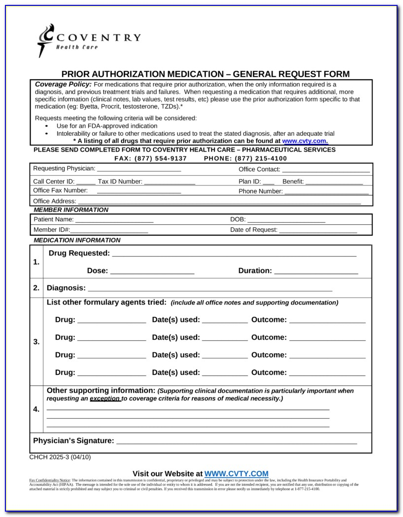 Humana Medicare Part D Prior Authorization Forms For Medication