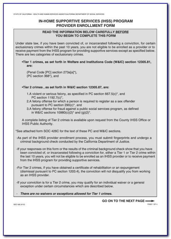 Ihss Provider Application Form