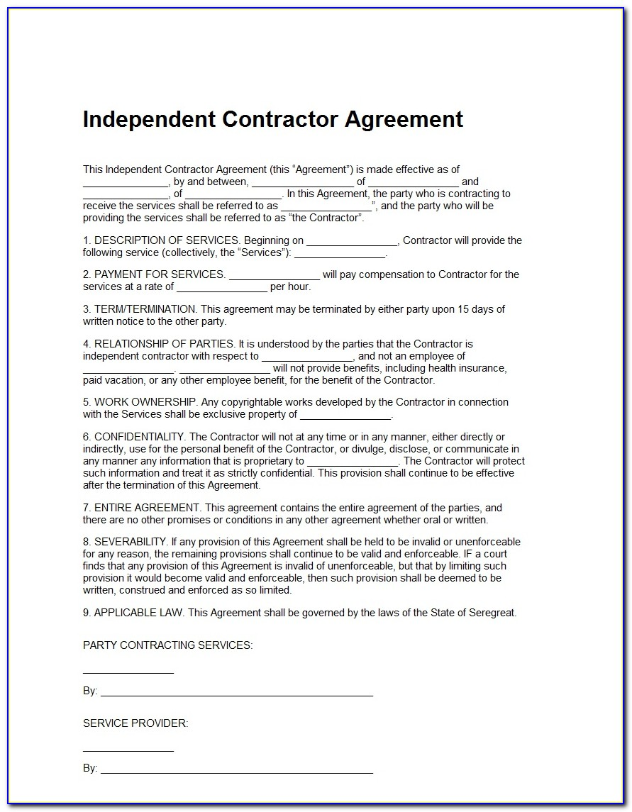 Independent Contractor Agreement Form Free