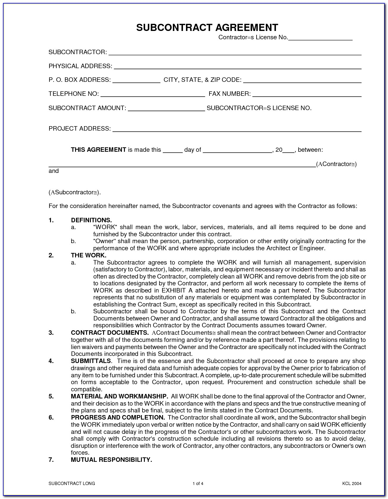 Independent Subcontractor Agreement Forms