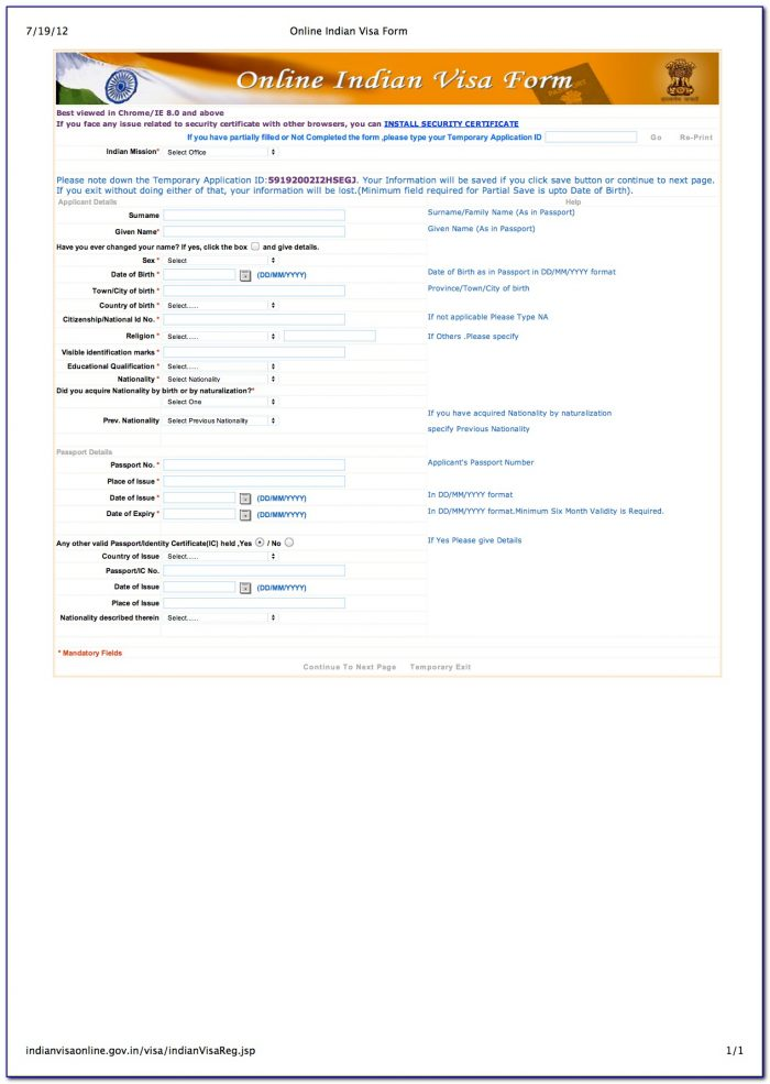 India Tourist Visa Application Form Download