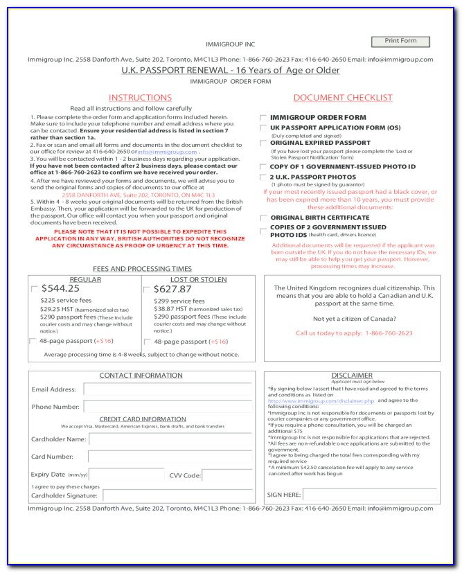 Indian Passport Renewal Form Printable
