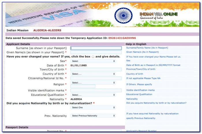 Indian Tourist Visa Form For Bangladeshi