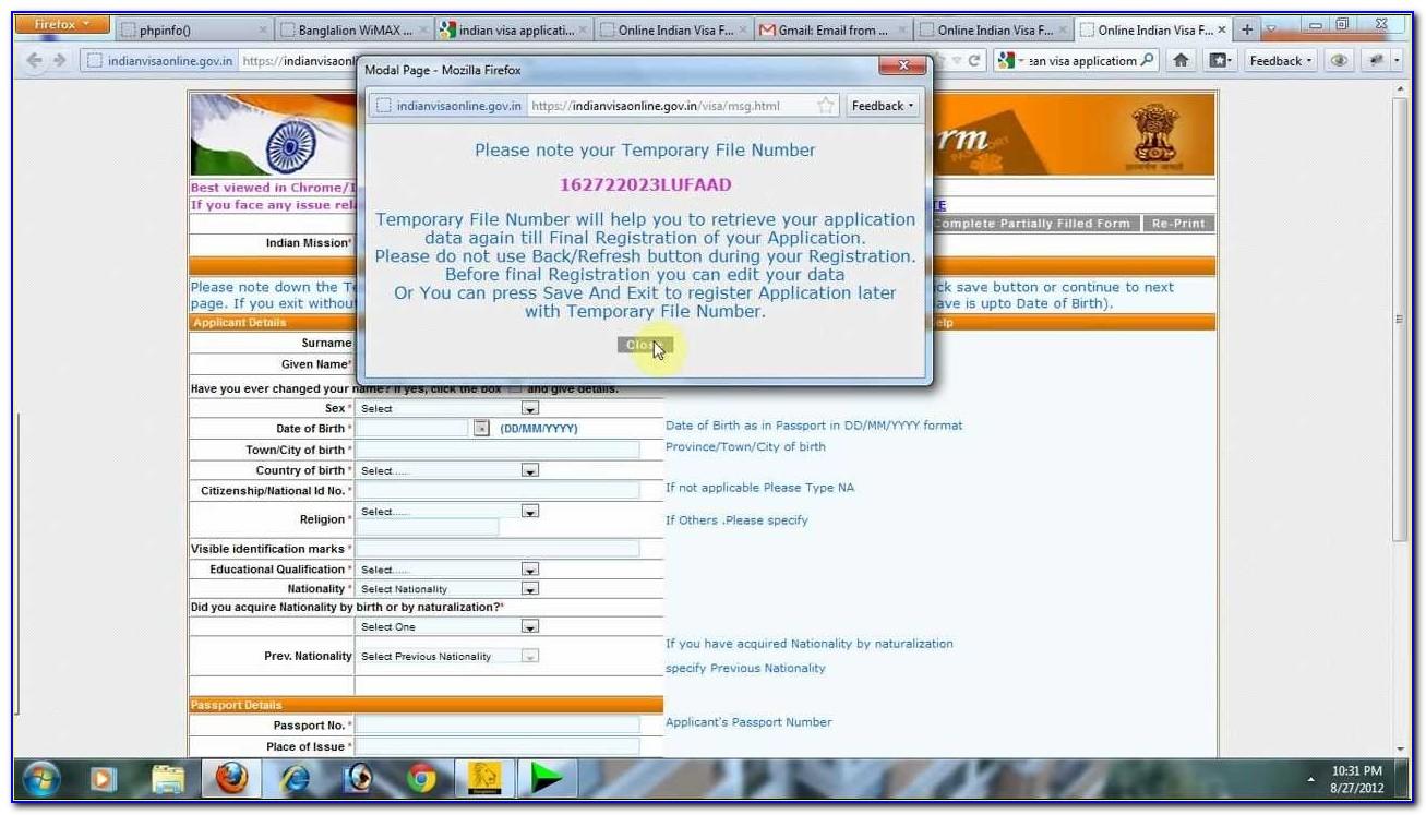 Indian Visa Application Form Online Dhaka