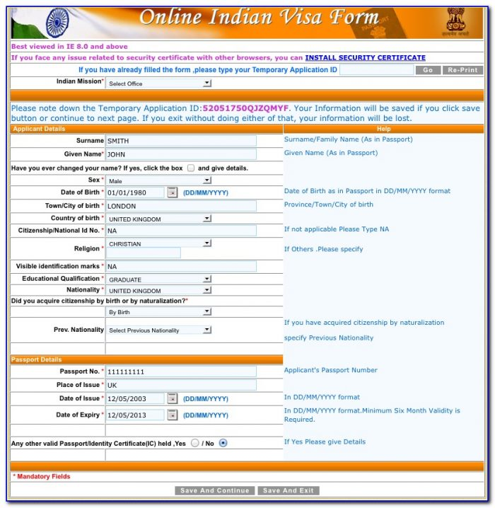 Indian Visa Application Form Online From Bangladesh