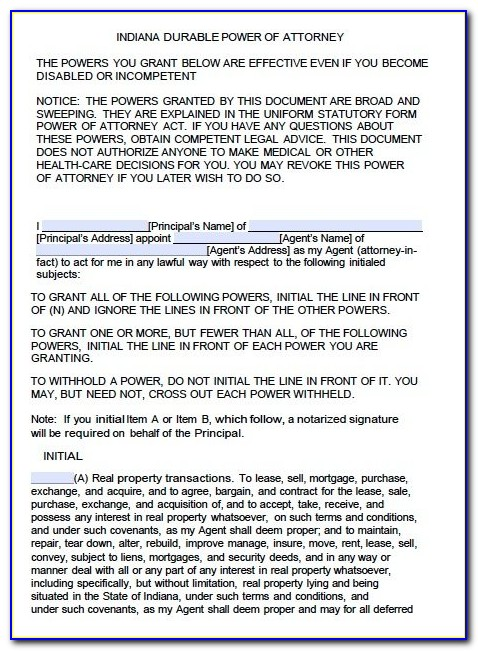 Indiana Durable Power Of Attorney Form Free