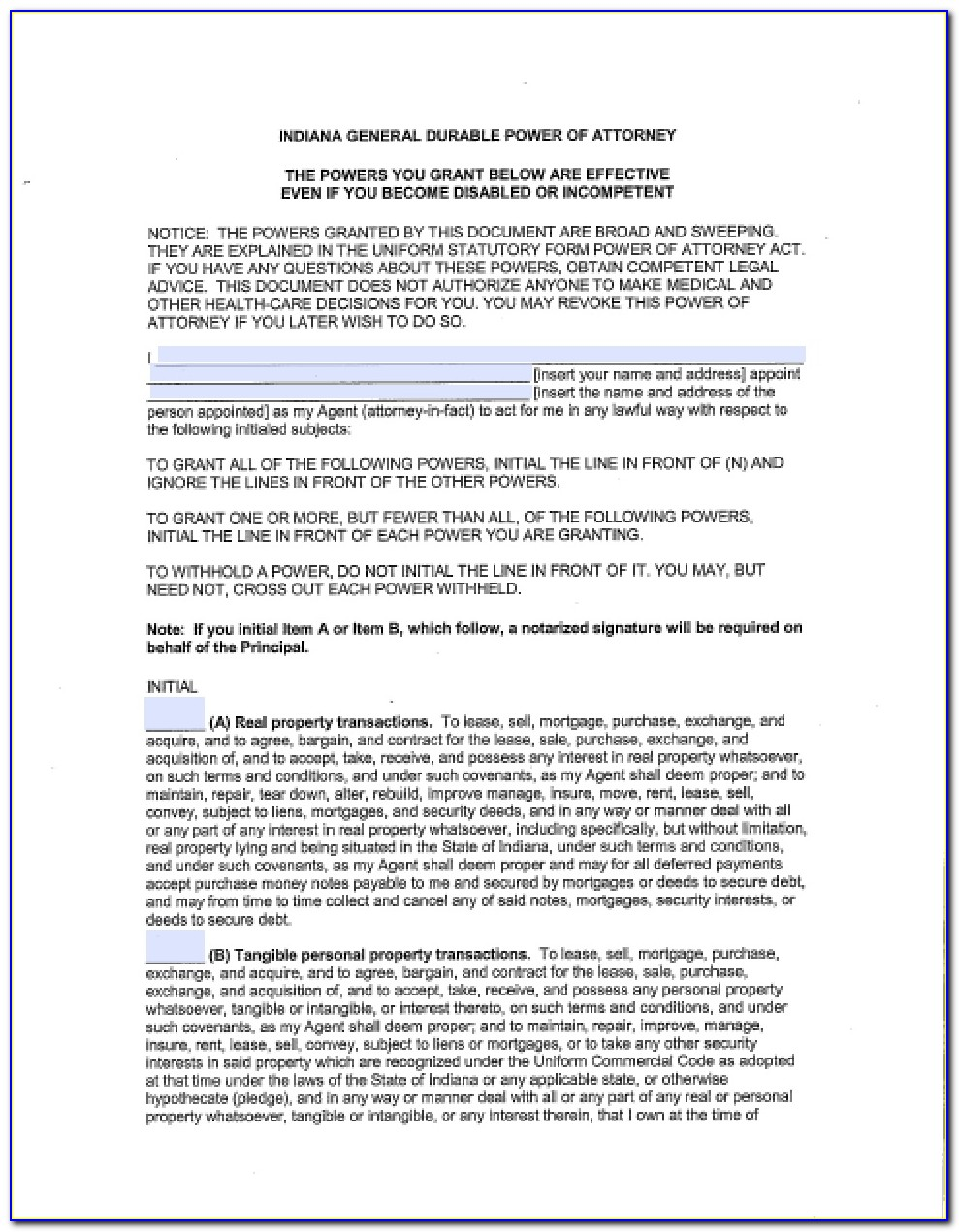 Indiana General Durable Power Of Attorney Form Free