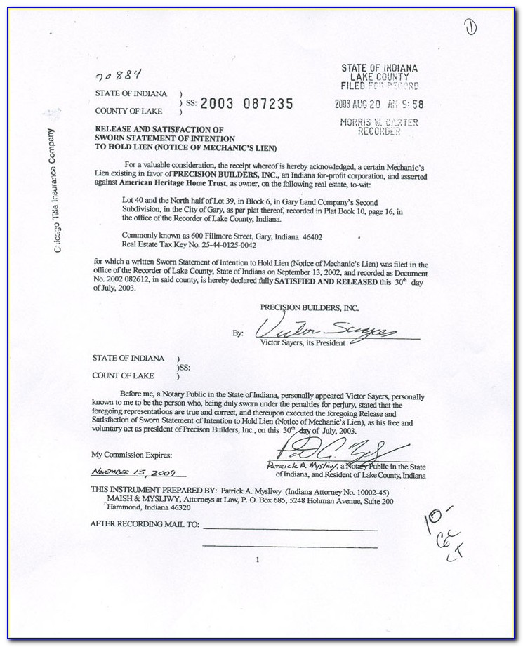 Indiana Mechanics Lien Release Form