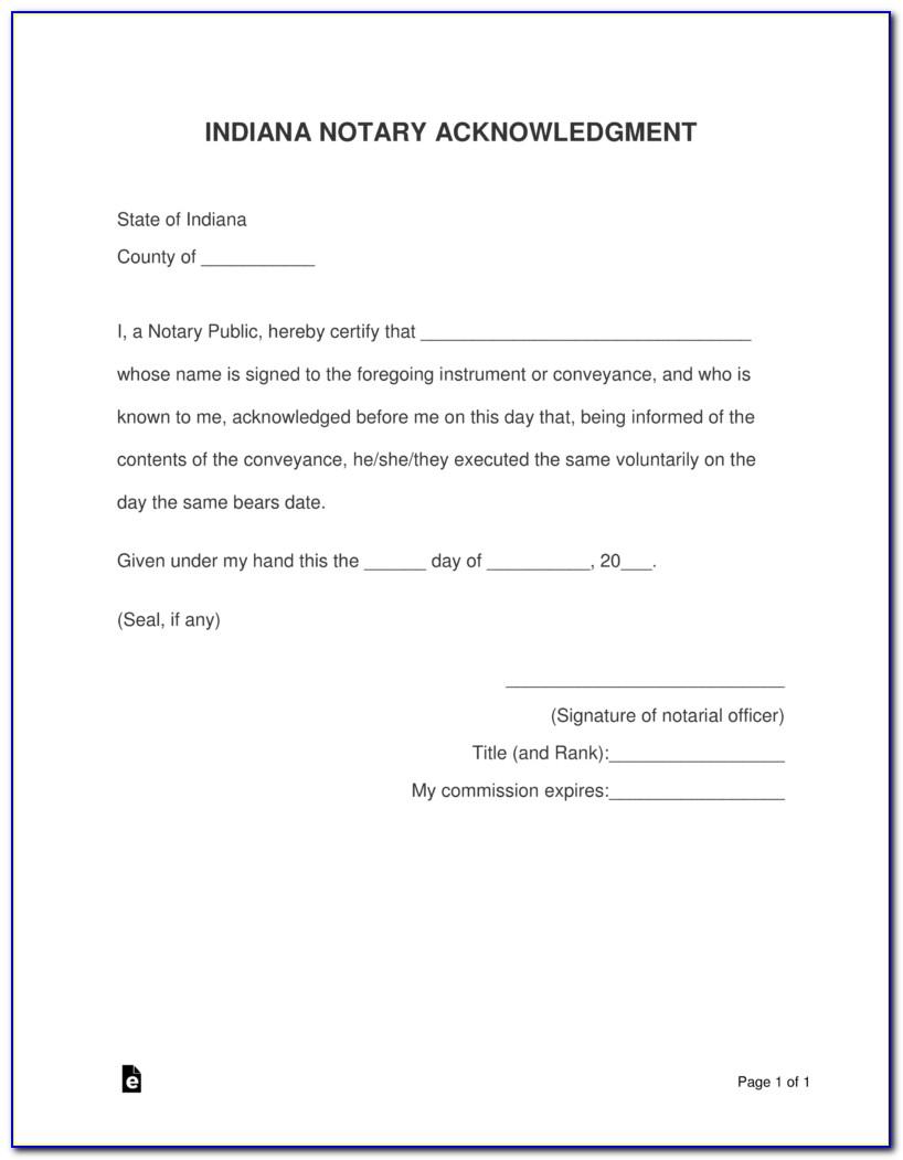 Indiana Notary Form