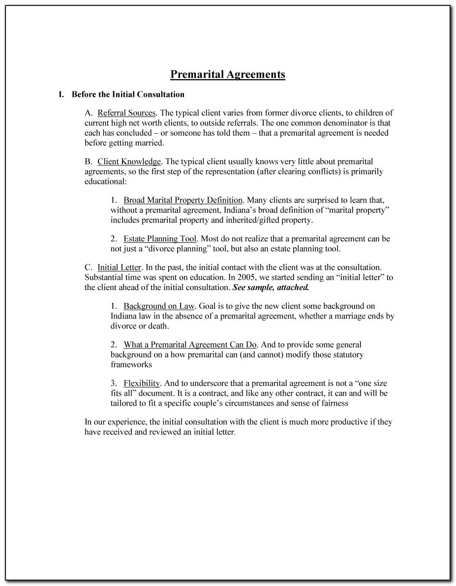 Indiana Prenuptial Agreement Form