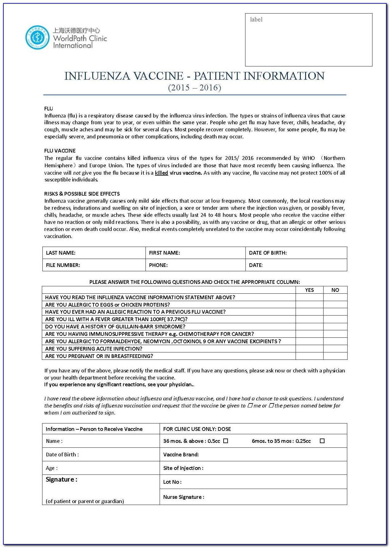 Influenza Vaccine Consent Form 2018 Ontario