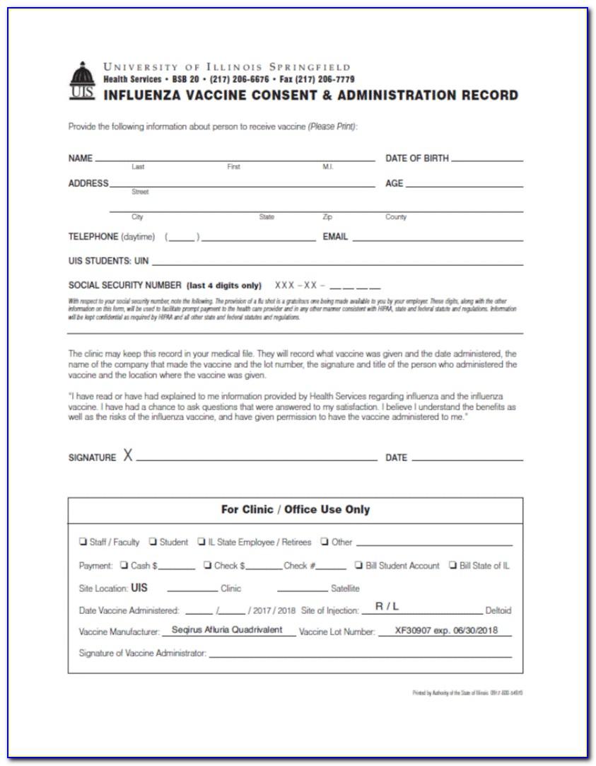 Influenza Vaccine Consent Form 2018