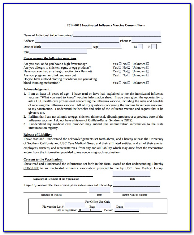Influenza Vaccine Consent Form Cdc