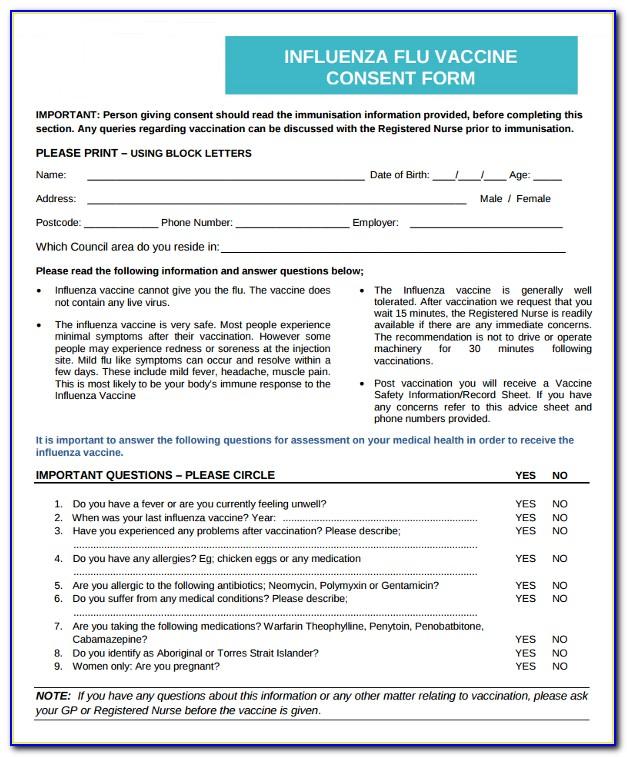 Influenza Vaccine Consent Form In Spanish