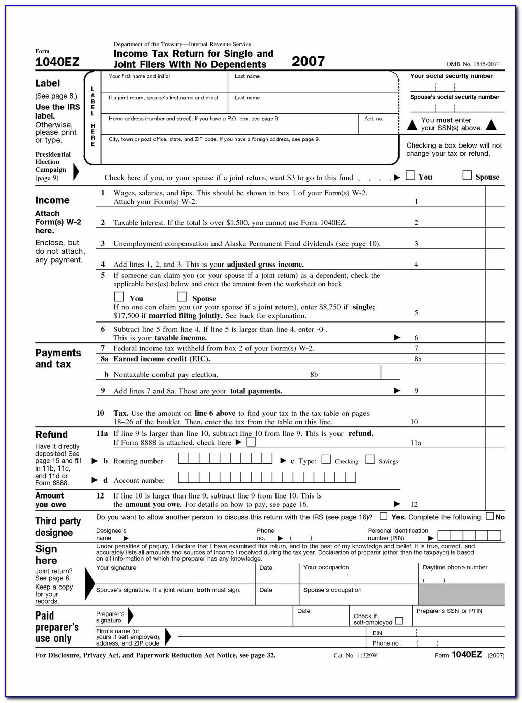 Irs 1040ez Tax Form Calculator