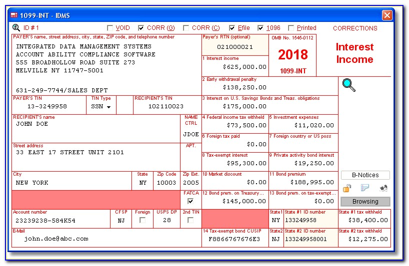 Irs 1099 Int Form Order