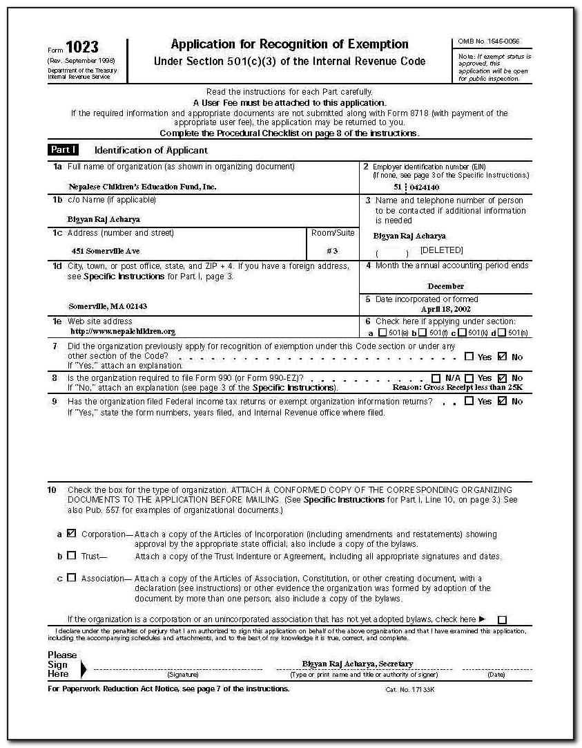 Irs 501 C 3 Donation Form