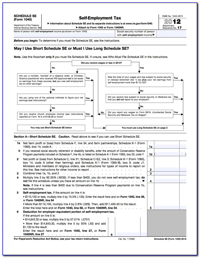 Irs Form Schedule Se 2013