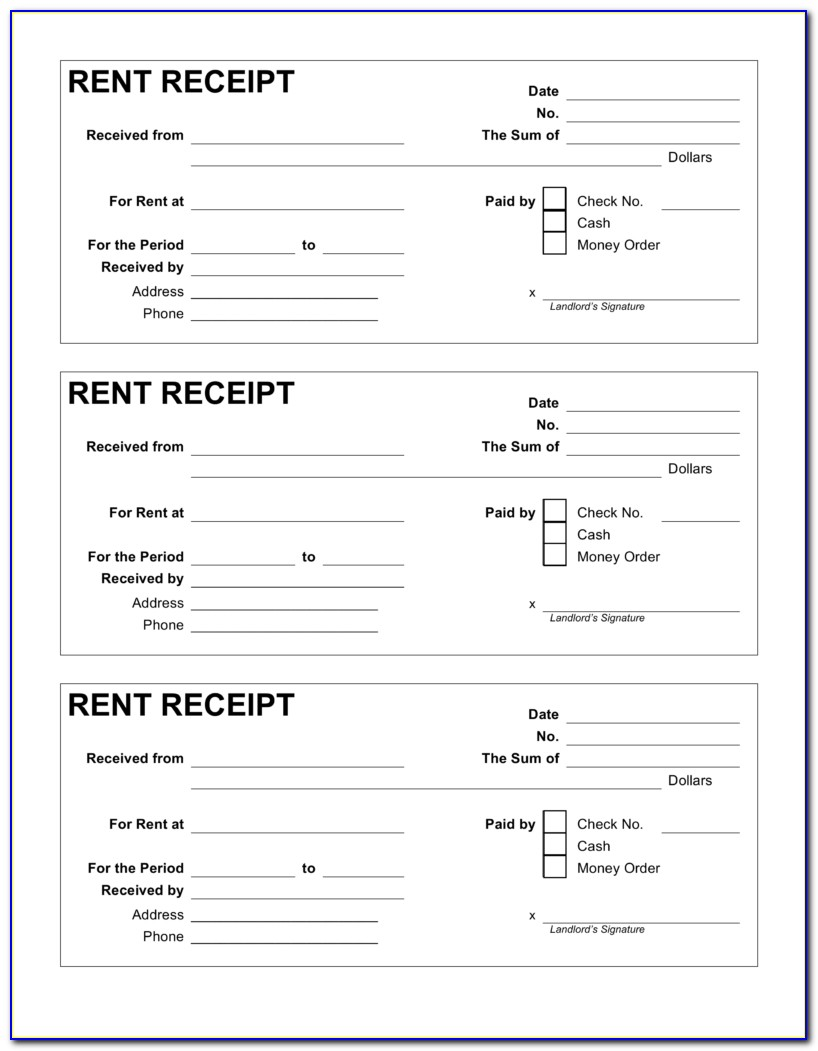 Free Rent Receipt Template Pdf Word Eforms Free Fillable Forms Rent Receipt Template