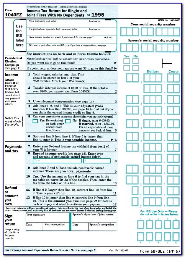 Irs.gov Tax Form 1040ez