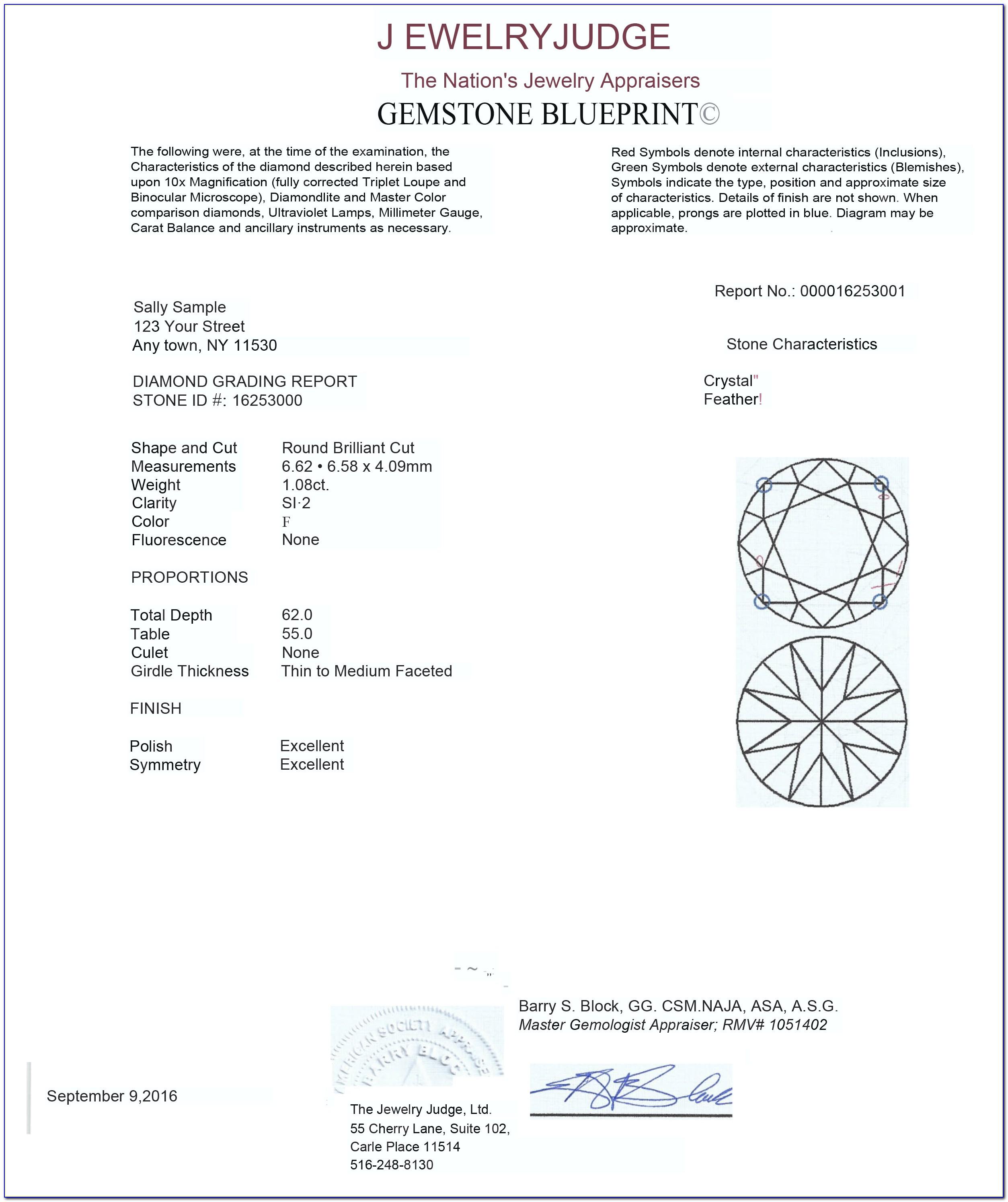 Jewelry Appraisal Sample Certificate