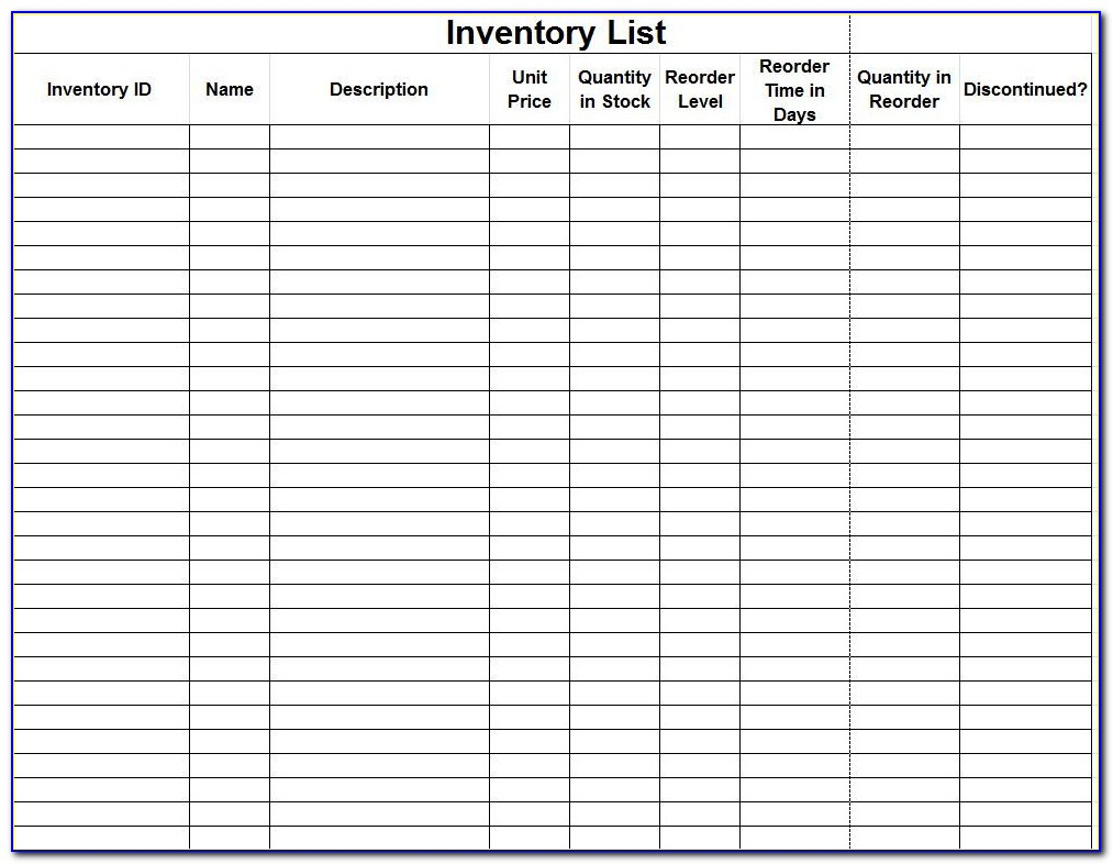 Kitchen Inventory Forms Templates Free