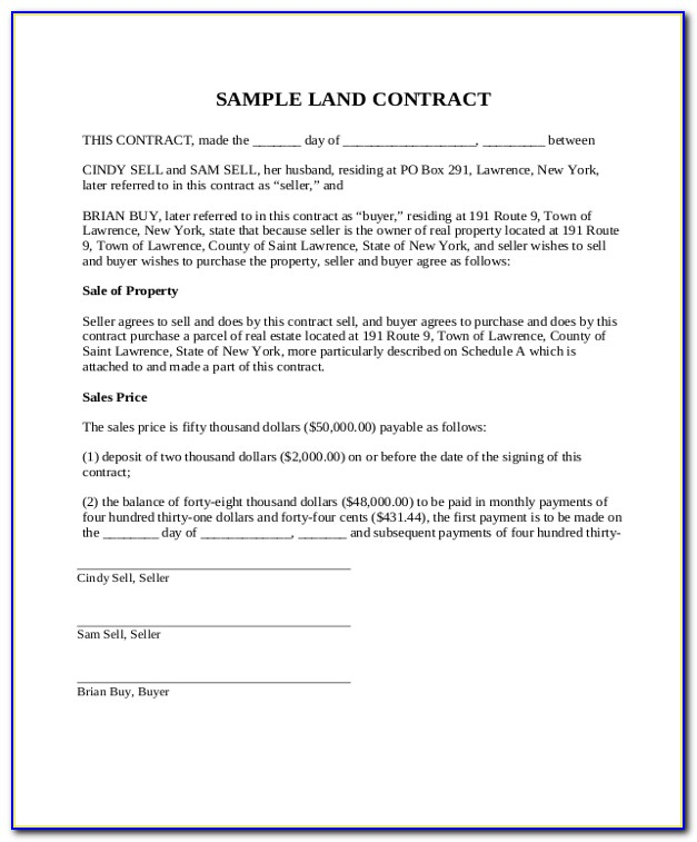 Land Purchase Contract Real Estate Form