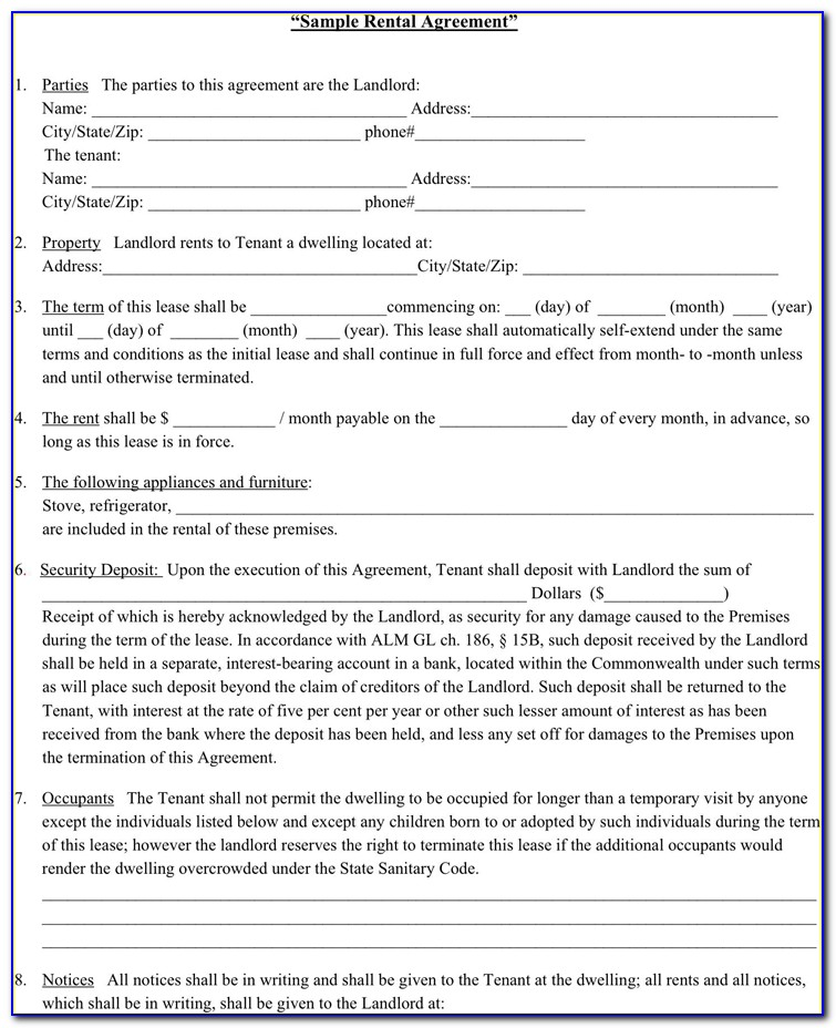 Landlord Tenant Lease Agreement Forms Free